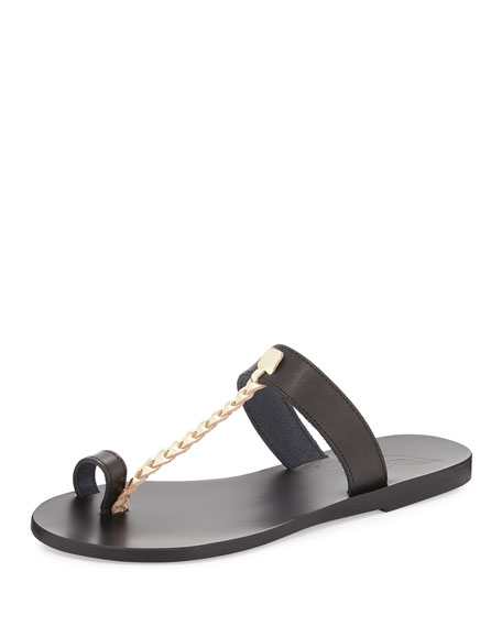 Melpomeni Toe-Ring Sandal, Black/Gold