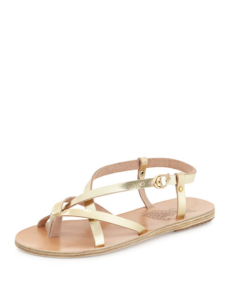 Ancient Greek Sandals Semele Strappy Flat Sandal, Gold