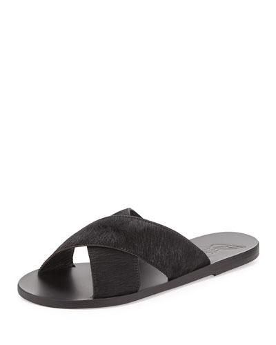 Thais Calf-Hair Sandal Slide, Black