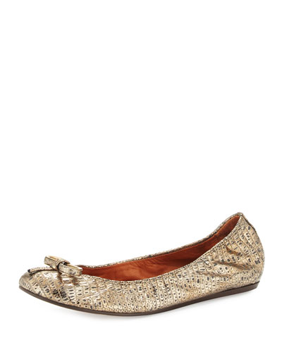 Metallic Sheepskin Ballet Flat, Gold