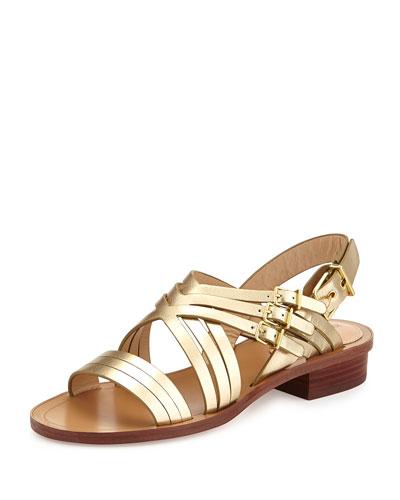 Metallic Leather Crisscross Sandal, Pewter