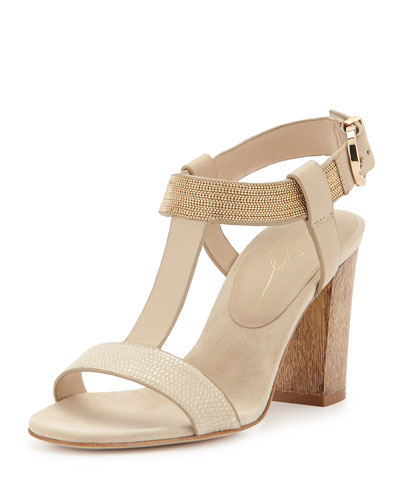 Chain-Detail T-Strap Sandal, Nude