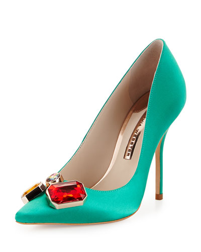 Lola Gem Winter Satin Pump, Ultramarine