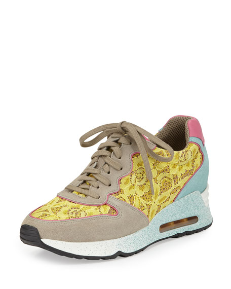 Love Lace Leather Trainer, Clay/Acid Yellow/Bubble