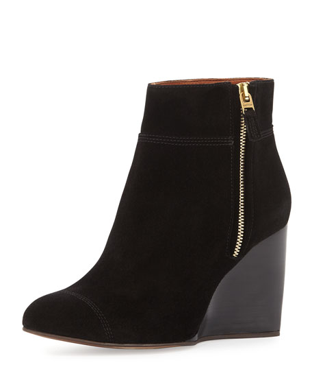 LanvinSuede Wedge Ankle Boot, Black