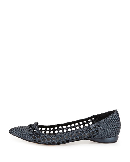 Shana Woven Leather Flat, Deep Blue