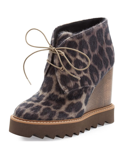 Leopard-Print Faux-Fur Wedge Bootie, Taupe/Black
