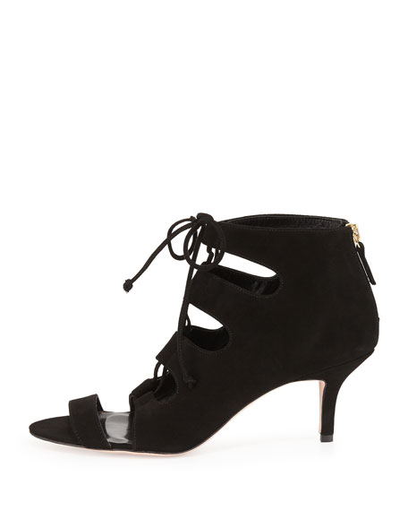 Tryst Ghillie-Tie Suede Open-Toe Bootie, Black