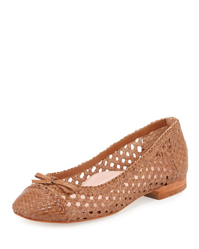 Bobo Woven Leather Flat, Tan