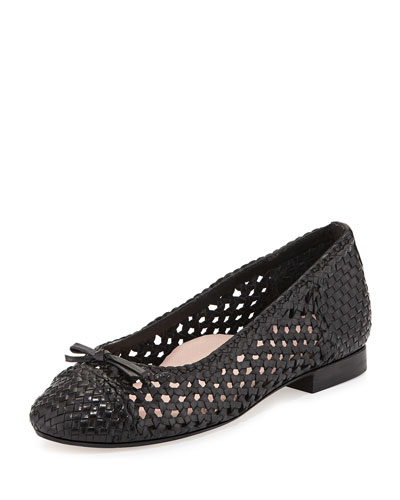 Bobo Woven Leather Flat, Black