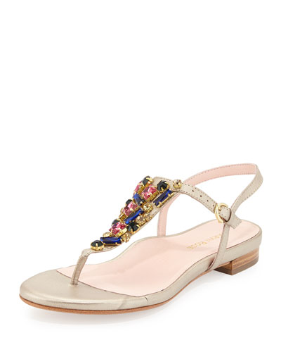 Ibsen Jeweled Thong Sandal, Soft Gold