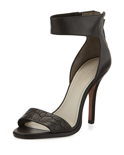 Yara Croc-Embossed High-Heel Sandal, Black