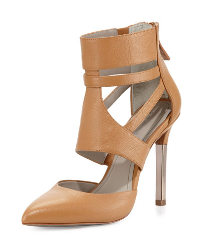 Zanie Caged Metallic Pump, Tan/Gold