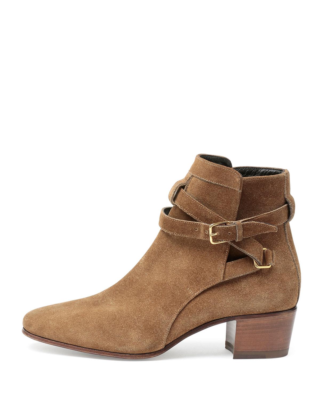 e65bd507c1c Saint Laurent Blake Jodhpur Suede Ankle Boots, Tan | Neiman Marcus