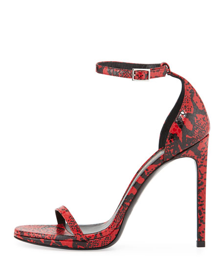 Snake-Embossed Leather Sandal, Red/Black