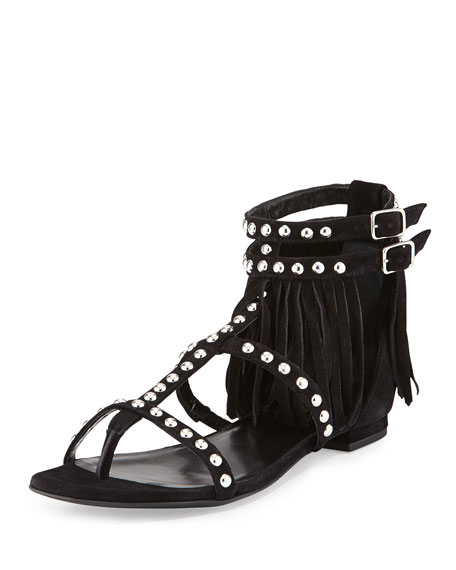 Saint Laurent Studded Fringe Leather Flat Sandal, Black