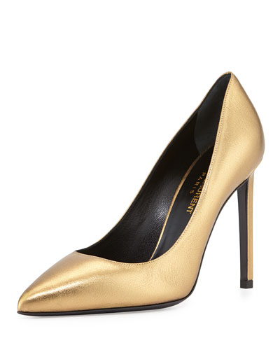 Paris Metallic Leather Pump, Gold