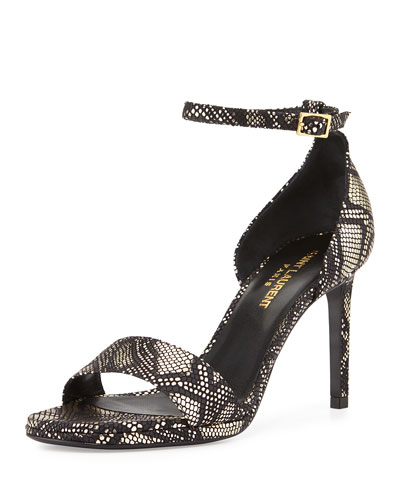 Python-Embossed Leather Sandal, Black