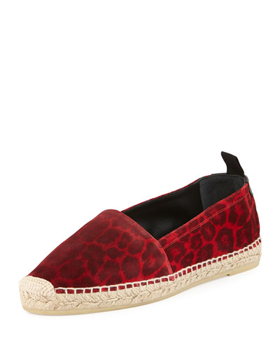 Leopard-Print Leather Espadrille, Red/Black