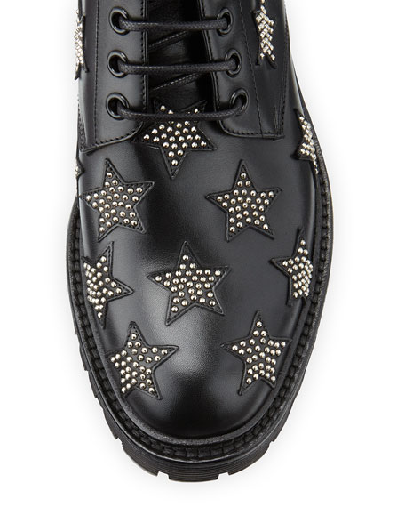 Army Star-Studded Leather Boot, Black