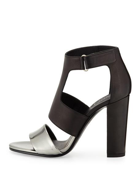 Aretha Bicolor Leather Sandal, Pewter/Black