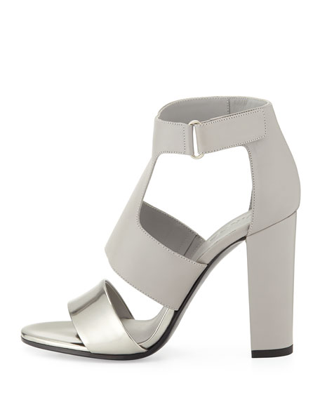 Aretha Two-Tone Leather Sandal, Pewter/Steel
