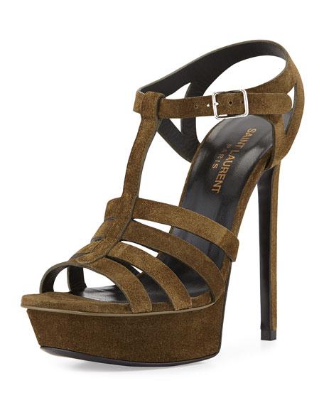 Saint Laurent Bianca Suede T-Strap Sandal, Sage
