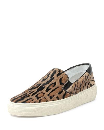Calf-Hair Skate Sneaker, Leopard