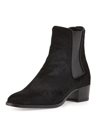 Wyatt Calf-Hair Boot, Black