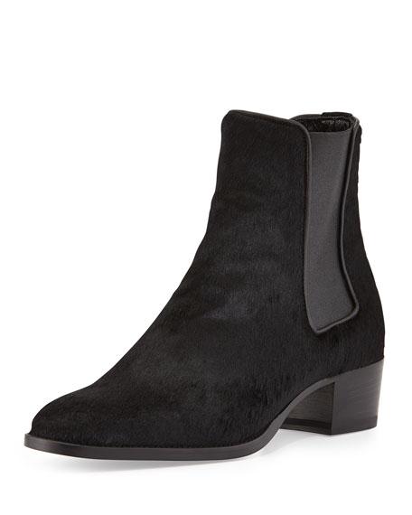 Saint Laurent Wyatt Calf-Hair Boot, Black