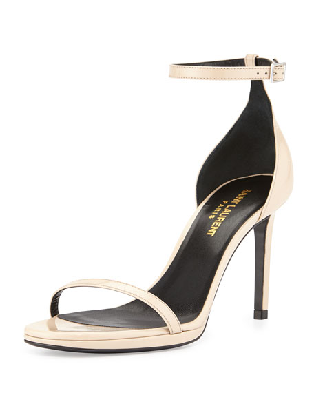 Saint Laurent Patent Ankle-Strap Sandal, Nude Powder