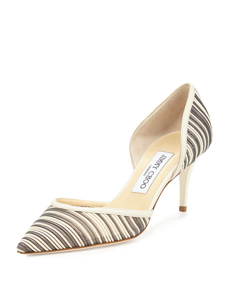 Jimmy Choo Mariella Striped d'Orsay Pump, Off White/Mix