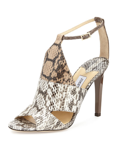 Jimmy Choo Timbus Watersnake Sandal, Neutral Mix