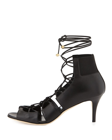 Myrtle Napa Lace-Up Sandal, Black