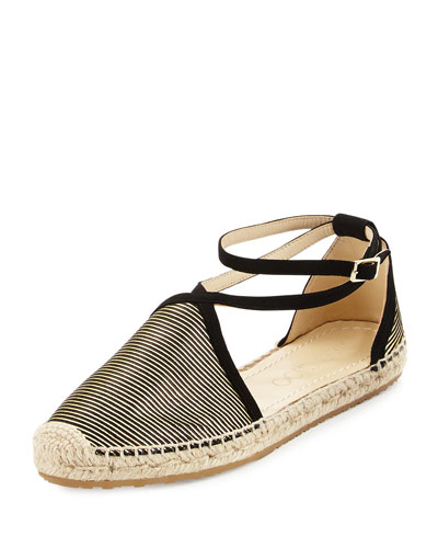 Donna Metallic Striped Espadrille, Black/Gold