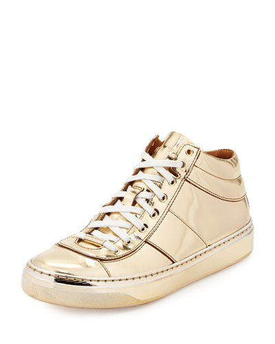 Bells Metallic Mirror Leather Sneaker, Nude