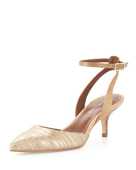 Franco Metallic Ankle-Wrap Sandal, Platino/Camel