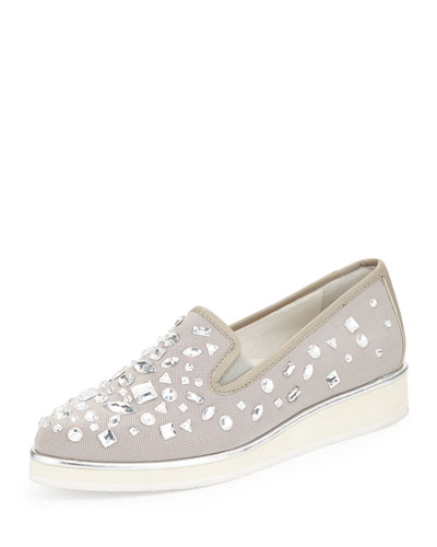 Betina Beaded Mesh Slip-On, Gray