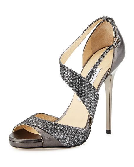 Jimmy Choo Tyne Asymmetrical Glitter Sandal, Anthracite