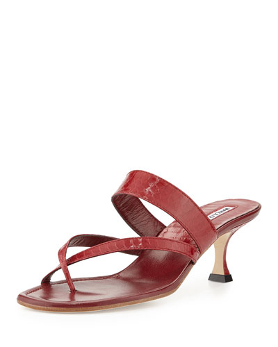 Susa Strappy Snakeskin Thong Sandal, Red