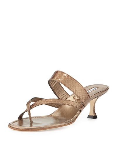 Susa Strappy Snakeskin Thong Sandal, Bronze