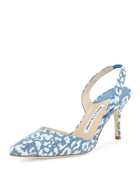 Manolo Blahnik Carolyne High-Heel Denim Halter Pump, Leopard Blue
