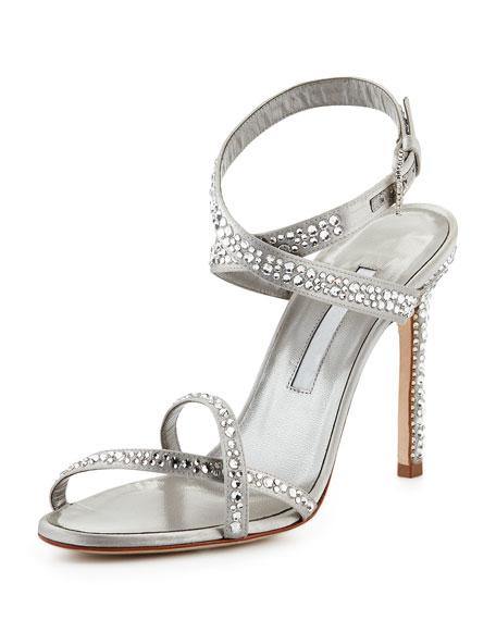 Manolo Blahnik Kolebibi Satin & Strass Evening Sandal, Silver