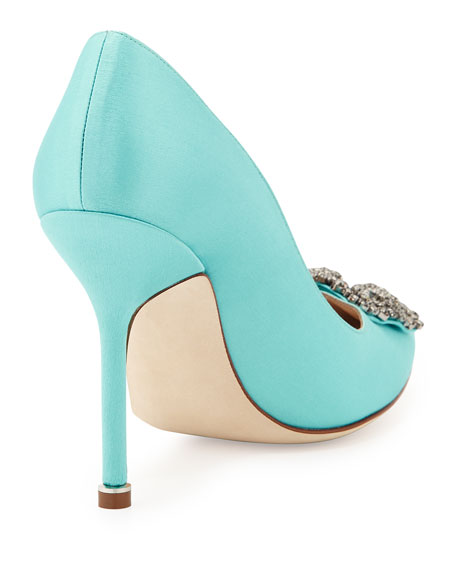 Hangisi 105mm Satin Crystal-Toe Pump, Turquoise