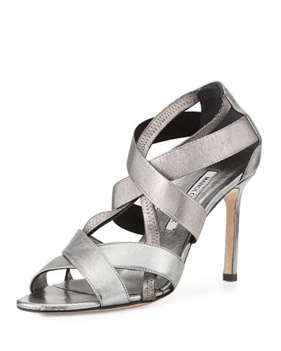 Eletti Strappy Metallic Napa Sandal, Gunmetal
