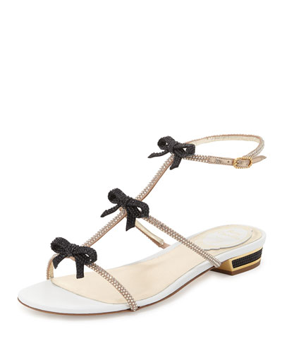 Crystal Bow T-Strap Sandal, Black
