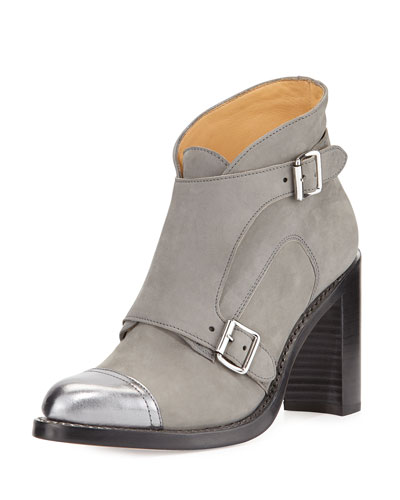 Mrs. Collin Suede Double-Monk Boot, Gray/Silver