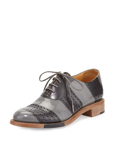 Mr. Smith Striped Perforated Leather Oxford, Slate
