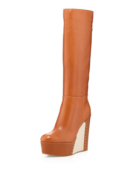 Sergio Rossi Illusion-Wedge Knee Boot, Sable