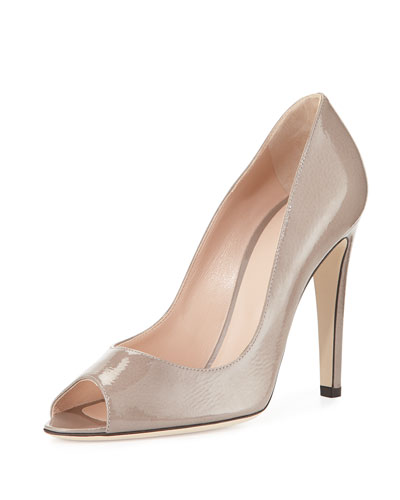 Patent Peep-Toe Pump, Gray